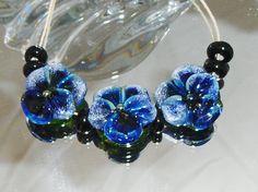 BLUE MOON PANSIES. lampwork beads Set of 3 Pansies by Flameartbytd  TRITON AND ENAMELS W BLACK