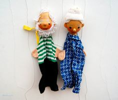 Two Vintage Wooden Heads Hand Puppets by Littlemix on Etsy