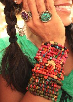 retro junk gypsy photoshoot - wooden boho bead cuffs {junk gypsy co}