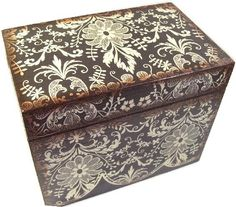Recipe Box, Handmade, Decoupage, Black, Cream Damask, Wood Box, Holds 4x6 Cards by Gifts and Talents
