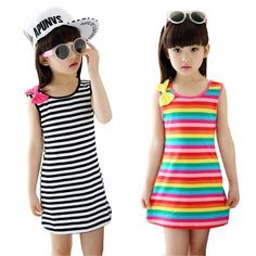 Summer Girls Dresses Cotton Casual Children Clothing Sleeveless Striped Baby Clothes For Girls Bow O-Neck Robe Princesse Enfant Baby Outfits, Baby Girl Party Dresses, Teenage Girl Outfits, Family Outfits, Kids Outfits, Girls Dresses, Girls Bows, Summer Girls, Kind Mode