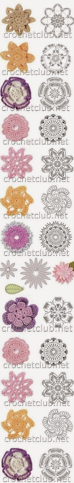 Receitas de Crochet: Flores de crochet *needs translation and the image is small on my phone so I need to see how it is on my pc. Crochet Diy, Crochet Motifs, Crochet Flower Patterns, Crochet Diagram, Crochet Chart, Crochet Squares, Thread Crochet, Love Crochet, Irish Crochet