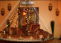round hanging bed   Lights on Floating Bed make a beautiful bedroom