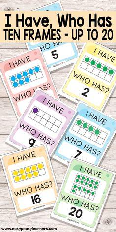 Learning 10 Frames through I Have Who Has card game Preschool Math, Math Classroom, Kindergarten Math, Teaching Math, Math Activities, Ten Frame Activities, Therapy Activities, Math For Kids, Fun Math