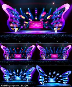 Blue butterfly stage - New Deko Sites Tv Set Design, Stage Set Design, Stand Design, Booth Design, Event Design, Stages Of A Butterfly, Blue Butterfly, 3d Projection Mapping, Concert Stage Design