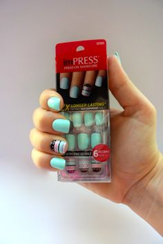 I have bought these type of nails at Walmart , i have also gotten the ombre nails Impress Nails Press On, Press On Nails, Kiss Nails, Fun Nails, Diy Pretty Nails, Popular Nail Art, Nails For Kids, Types Of Nails, Accent Nails