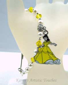 Karen's Artistic Touches Store - Princess Belle Charm Swarovski Yellow Pearl Beaded Medical Alert Bracelet, $17.99 (http://www.karensartistictouches.com/princess-belle-charm-swarovski-yellow-pearl-beaded-medical-alert-bracelet/)