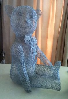 Large hollow teddy bear sculpture made with chicken wire Chicken Wire Sculpture, Dinosaur Stuffed Animal, Sculptures, Teddy Bear, The Incredibles, Toys, Pattern, Animals, Design