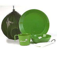 Each scout needs a mess kit, this is an example of a pre-made one, but you can use everyday silverware and plastic bowl, dish, and mug of your own and put it in a lingerie mesh bag and string it with a shoelace.