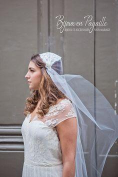 Voile mariage rétro  Voile de mariée  Dentelle par Bijouxenpagaille, €95.00