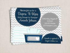 Diaper and Wipe Gray & Navy Baby Boy Custom Printable Baby Shower Invitation on Etsy, $10.00