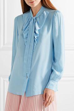 Prada - Pussy-bow Ruffled Silk Crepe De Chine Blouse - Light blue - IT46