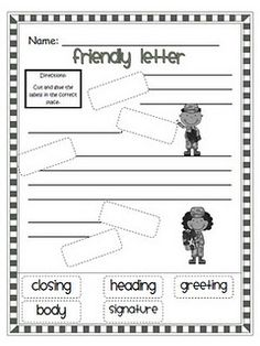 Printables Writing A Friendly Letter Worksheet label parts of a friendly letter freebie firstgradefaculty com letter