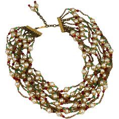Chanel Multistrand Necklace, 1950's. | From a unique collection of vintage beaded necklaces at https://www.1stdibs.com/jewelry/necklaces/beaded-necklaces/