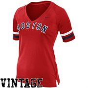 Nike Boston Red Sox Ladies Cooperstown Collection Fan V-Neck Slim Fit T-Shirt