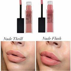 maybelline vivid matte liquid lipstick comparison nude thrill nude flush