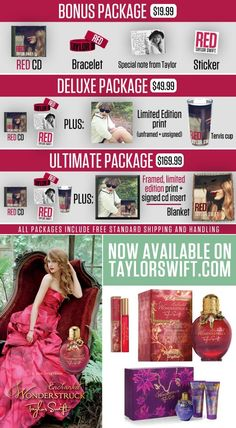 RED is less than a month from release and TaylorSwift.com is the only place to get select AUTOGRAPHED, limited edition merchandise when you reserve your copy. Check out the RED pre-sale and new fragrance, Enchanted, now in the official online store! http://store.taylorswift.com/
