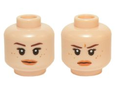 Lego New Minifigure Head Dual Sided Female Black Eyebrows Beauty Mark Girl