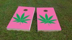 Cannabis HOT PINK Themed 1x4 by CornholeBoardsDOTus