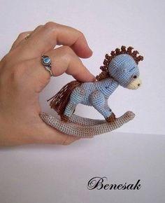 Thread artist crochet miniature Bear-Horse by Benesak