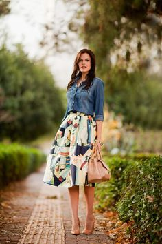 chic midi skirt outfit                                                       …