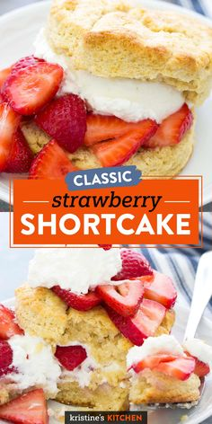 Classic Strawberry Shortcake is the perfect dessert for summer, Mother's Day or any spring occasion! Flaky homemade biscuits (so easy to make!), fresh whipped cream and sweet strawberries are the most delicious combination! The BEST recipe!! #strawberryshortcake #strawberries #dessertrecipes #strawberryrecipes Top Dessert Recipe, Dessert Recipes, Potluck Recipes, Family Recipes, Summer Recipes, Strawberry Shortcake Recipes, Strawberry Recipes, Easy Desserts, Delicious Desserts