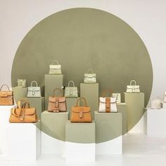 The Almond & Vegetal colour bags at the SS16 Showroom @Delvaux in Paris France www.bullesconcept.com
