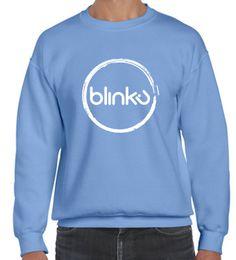 Sudadera para hombre : Color Carolina blue, diseño Blinku 2 serigrafiado en tinta white