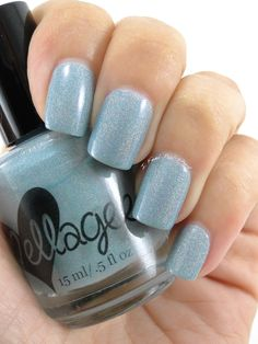 ellagee.com | Unique Handcrafted Indie Nail Polish ~ 'Trenzalore' ~ a smokey blue-gray with subtle scattered holo.