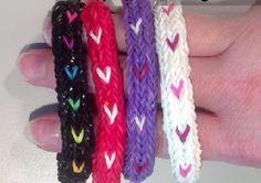 Make A Heart Stripe Bracelet on Monster Tail Loom® - Loom n Bands - Pure Rainbow Loom Bliss!