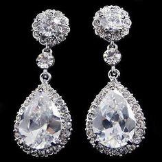 Shipped from USA- Swarovski Crystal Earrings, Dangle Earrings, Drop Bridal Earrings, Prom Earrings, Evening Earrings. $20.00, via Etsy.