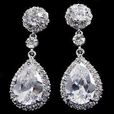 Shipped from USA- Swarovski Crystal Earrings, Dangle Earrings, Drop Bridal Earrings, Prom Earrings, Evening Earrings. $20.00, via Etsy.
