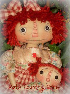 Primitive Folk Art Raggedy Ann w Baby Paper Pattern 158 Annies Lil' Baby | eBay
