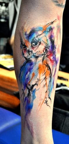 """owl by LUKAS """"MUSA"""" MUSIL These watercolor tattoos are BLOWING my mind away. I have just now become aware that this style exist. Thankfully I know now. WOW!"""