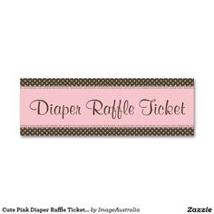 Pink Water Paint GirlS Pram Diaper Raffle Ticket Mini Business