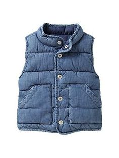 Denim puffer vest | Gap