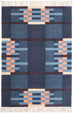 "Tapis "" Ennis indigo "" via Goodmoods Palette Pastel, Bauhaus Textiles, Palette Design, Indigo, Weaving Textiles, Textile Patterns, Home Textile, Woven Rug, Color Inspiration"