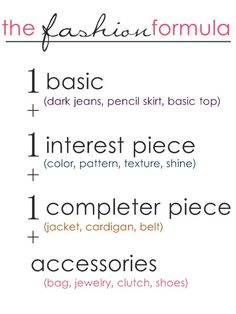 fashion formula...interesting idea! // so helpful