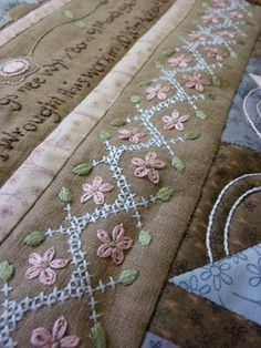 Times Gone By - embroidery sampler BOM by Hugs 'n Kisses - /crzqltr/crazy-quilting-seam-treatments/ BACK Embroidery Sampler, Silk Ribbon Embroidery, Cross Stitch Embroidery, Embroidery Patterns, Hand Embroidery, Machine Embroidery, Sewing Patterns, Crazy Quilt Stitches, Crazy Quilting