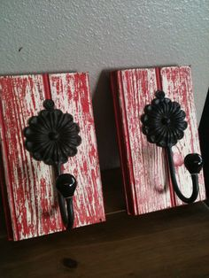 Shabby chic red wall art hooks ~ I would change the hooks, not to crazy about 'em.