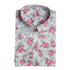 Womens Turn Down Collar Floral Blouse Shirt