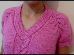 V-образная горловина резинкой 1х1 спицами сверху (продолжение). - YouTube Stitch Patterns, Knitting Patterns, Crochet Patterns, Knitting Videos, Free Knitting, Crochet Baby, Knit Crochet, Beading Projects, Knit Jacket