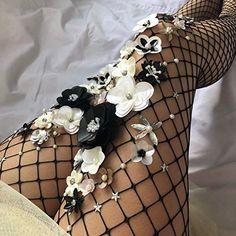 24ab664dc6748 Amazon.com: The Black Swan Fishnet Stockings | Flower Vintage Tights |  Wedding Pantyhose | 3D Flower pin up stockings: Handmade