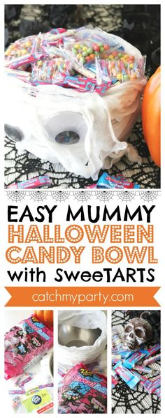 How about making this easy Mummy Halloween Candy Bowl with to gr. Halloween Candy Bowl, Halloween Bingo, Halloween Countdown, Halloween Party Favors, Halloween Celebration, Halloween Books, Halloween Items, Creepy Halloween, Halloween Activities