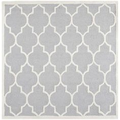 Safavieh Handmade Moroccan Cambridge Silver/ Ivory Wool Rug (8' Square) | Overstock.com Shopping - The Best Deals on Round/Oval/Square