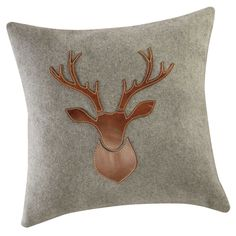 Grey wool cushion make a great contrast in industrial style interiors | ANTLER wool and leather deer cushion | Maisons du Monde