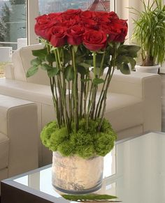 English Hedge Red Roses.  Stunning Grand Reserve Red Roses, Unique Florist Quality Roses, Carithers Florist.  http://www.carithers.com/roses/Red-Roses-Fantasy-Arrangement-Delivery-VS60/
