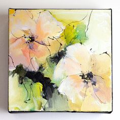 "Original abstract, acrylic flower painting, pink yellow green painting, inspired by nature, gift for her, painting on canvas, ""ABF 212"""