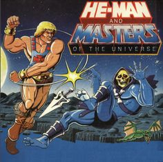 He-Man hitting Skeletor!