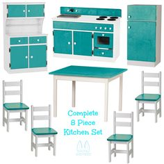 COMPLETE 8 pc KITCHEN PLAY SET - Amish Handmade Wood Toy Furniture - TWO TONE SERIES